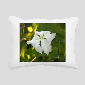 White Squash Flower Rectangular Canvas Pillow