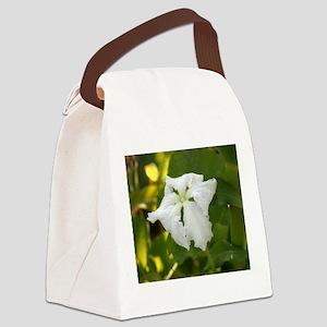 White Squash Flower Canvas Lunch Bag