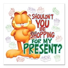 """Shop For My Present? Square Car Magnet 3"""" x 3"""