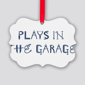 Plays in the Garage Picture Ornament