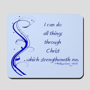 Philippians 4 13 Blue Vines Mousepad