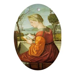 The Lady Reading Oval Ornament