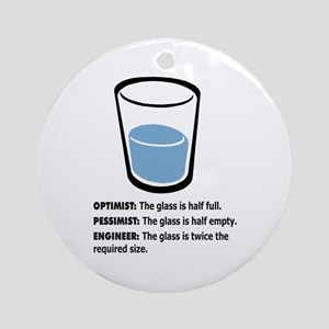 Optimist/Pessimist/Engineer Ornament (Round)