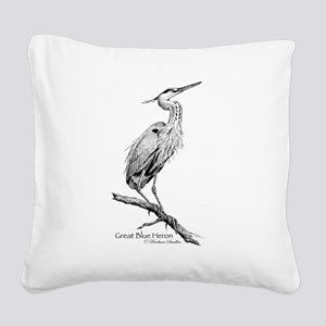 Great Blue Heron Square Canvas Pillow