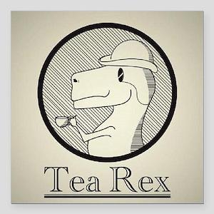 "Tea Rex Square Car Magnet 3"" x 3"""