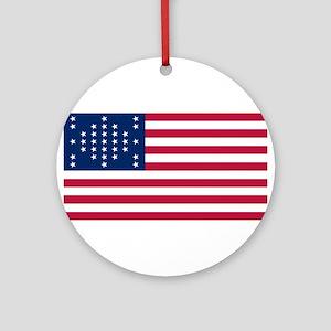 USA - 33 Stars - Ft Sumter Round Ornament