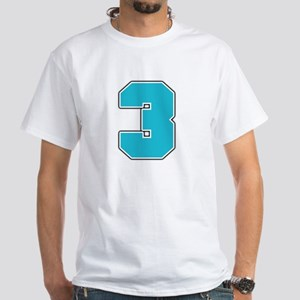 """""""Number 3"""" White T-shirt"""