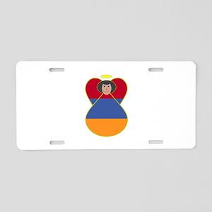 Armenia Flag Angel Black Hair Aluminum License Pla