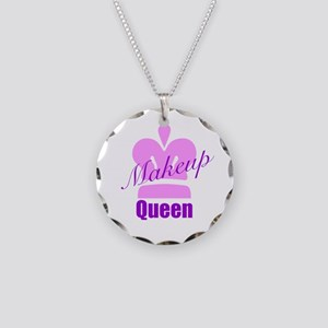 Makeup Queen Necklace Circle Charm