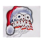 Obama Style Santa Throw Blanket