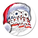 Obama Style Santa Round Car Magnet