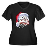 Obama Style Santa Women's Plus Size V-Neck Dark T-