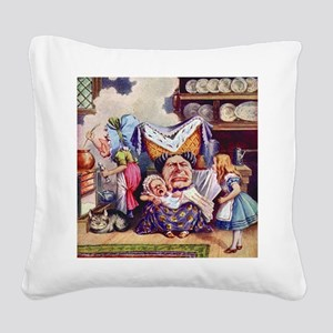 Alice In The Duchess' Kitchen Square Canvas Pillow