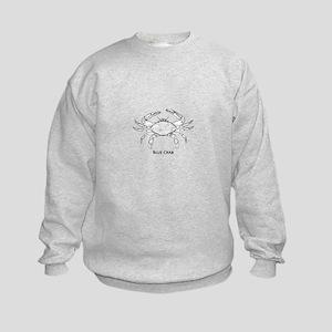 Blue Crab Logo Kids Sweatshirt