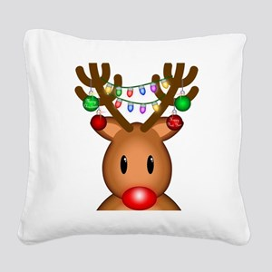 Reindeer with lights Square Canvas Pillow