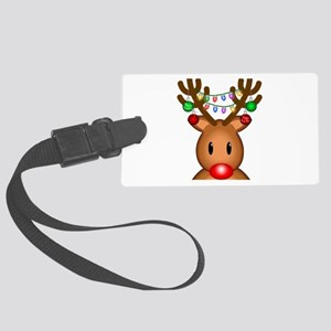 Reindeer with lights Large Luggage Tag