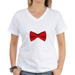 Bow Tie Red Women's V-Neck T-Shirt