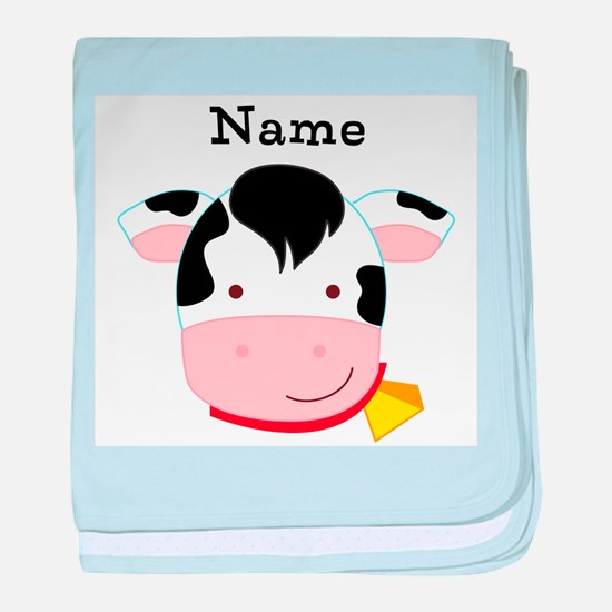 Personalized Cow baby blanket