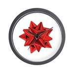 Gift Bow Red Wall Clock