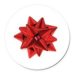 Gift Bow Red Round Car Magnet