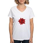Gift Bow Red Women's V-Neck T-Shirt