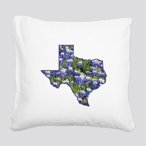 Texas Bluebonnets Square Canvas Pillow