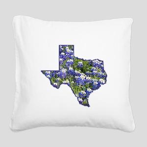 Texas Bluebonnets Square Canvas Pillow