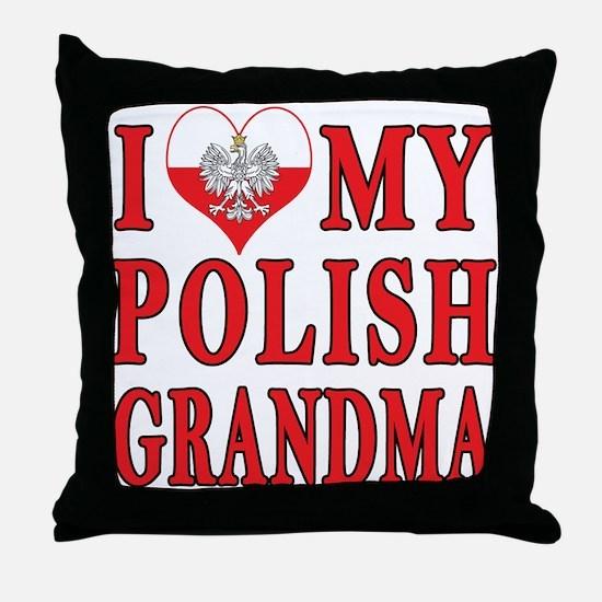 I Heart My Polish Grandma Throw Pillow