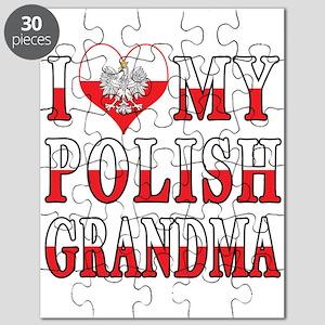 I Heart My Polish Grandma Flag Puzzle