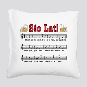 Sto Lat! Song With Beer Mugs Square Canvas Pillow