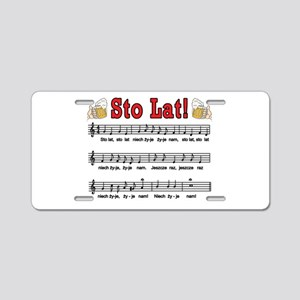 Sto Lat! Song With Beer Mugs Aluminum License Plat