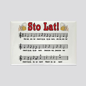 Sto Lat! Song With Beer Mugs Rectangle Magnet