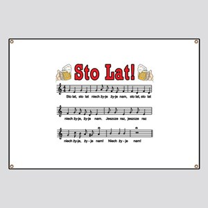 Sto Lat! Song With Beer Mugs Banner