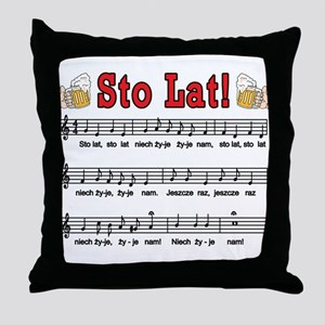 Sto Lat! Song With Beer Mugs Throw Pillow