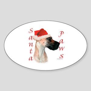Santa Paws Great Dane Oval Sticker