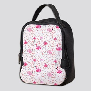 Pink Flamingos and dots pattern Neoprene Lunch Bag