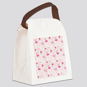 Pink Flamingos and dots pattern Canvas Lunch Bag