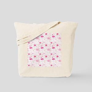 Pink Flamingos and dots pattern Tote Bag