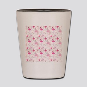 Pink Flamingos and dots pattern Shot Glass