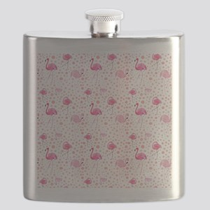 Pink Flamingos and dots pattern Flask