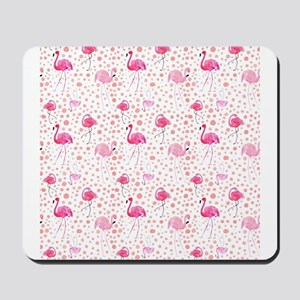 Pink Flamingos and dots pattern Mousepad