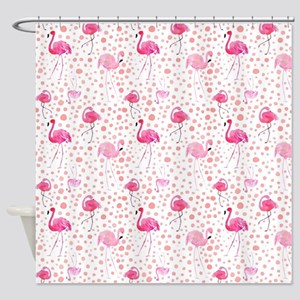 Pink Flamingos and dots pattern Shower Curtain