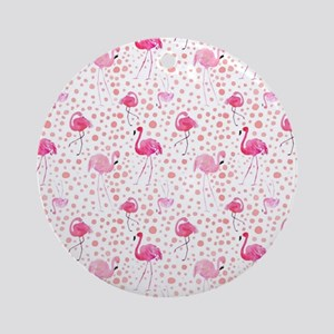 Pink Flamingos and dots pattern Round Ornament