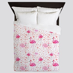 Pink Flamingos and dots pattern Queen Duvet