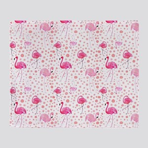 Pink Flamingos and dots pattern Throw Blanket