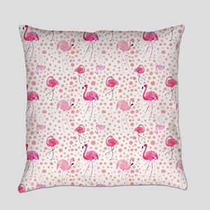 Pink Flamingos and dots pattern Everyday Pillow
