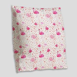 Pink Flamingos and dots patter Burlap Throw Pillow