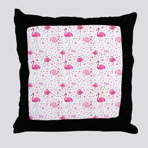 Pink Flamingos and dots pattern Throw Pillow