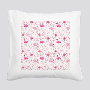 Pink Flamingos and dots patte Square Canvas Pillow
