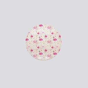 Pink Flamingos and dots pattern Mini Button